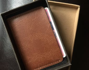 Faux Leather Wallet, Brown, Personalized