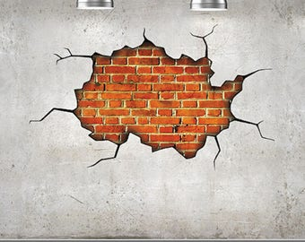 Brick wall Smash, Wall Art Sticker Hubble view