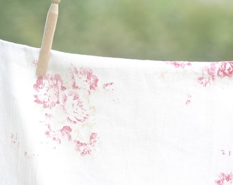Faded Floral 'camille' - cerise & fawn on linen | per m