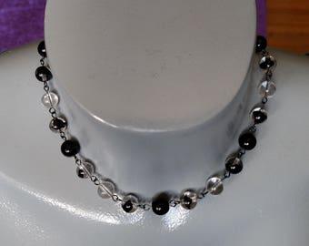 Vintage givre glass beaded choker necklace black clear ice marble swirls West Germany gunmetal silver OOAK handmade USA