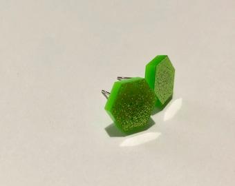 medium green glitter hexagon stud earrings