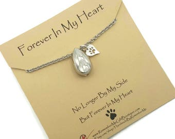 Pet Urn Necklace, Dog Ashes Jewelry, Pet Ashes Jewelry, Pet Cremation, Cremation Jewelry Ashes, Tear Drop Cremation Urn Pendant, Paw Print