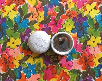 Fabric Covered Button Earrings / White / Vintage Inspired / Small Gifts / Wholesale Jewelry / Wedding / Bridal Shower / Made in USA