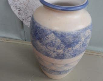 Jeff Banks Port of Call Vase 1980s, Flower Vase, Blue White Flower Vase, Designer Jeff Banks, Ceramic Vase,