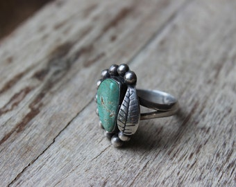 Vintage Old Pawn 925 Sterling Silver and Turquoise Ring Size 8 1/2 Signed