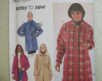 Simplicity 7760 Misses Size AA  (XS-S-M) Coat.   Easy to Sew!