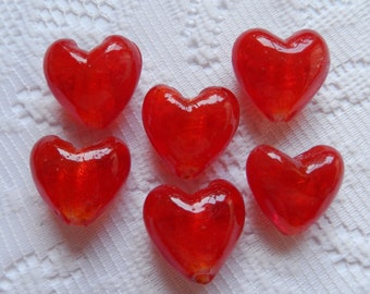 6  Bright Red & Silver Foil Heart Lampwork Glass Beads  22mm