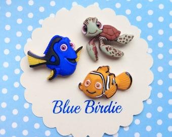 Disney finding Nemo brooch set  Disney jewelry Disney jewellery Nemo Dory and Squirt pin badges Disney gifts finding Nemo jewelry