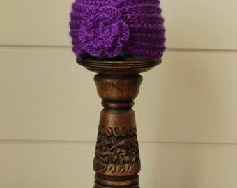 Crochet Flower Turban - Royal Purple