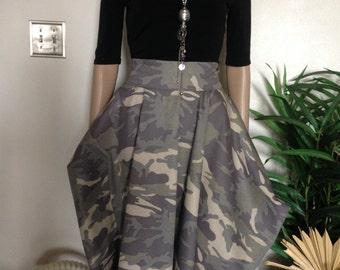 Camouflage Paper Bag Flare Skirt /Maxi Skirt /Over Size Skirt /Long Skirt / Knee Length Skirt / Denim Skirt