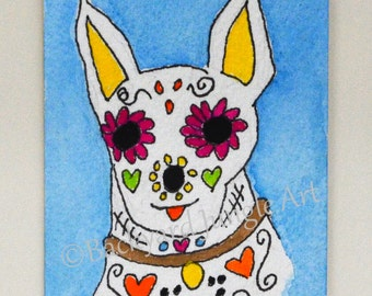 ACEO dog painting chihuahua original watercolor Day of the Dead painting mini art 2.5 x 3.5 inch ATC Dia de los Muertos