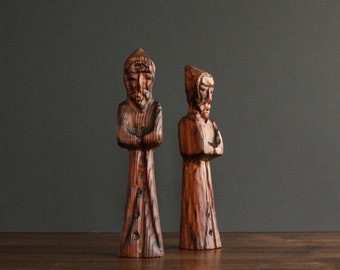 Carved Wooden Priest Figurine