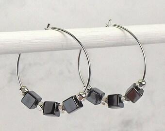 Hematite Cube Hoop Earrings, Sterling Silver Hoops, Sterling Silver Beads