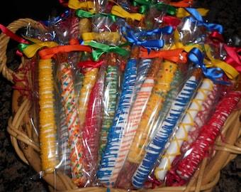 Crayola Colored Pretzel Rods(1 DOZ)/Kids Birthday/Boy's Birthday/Baby Shower/Birthday Parties/Girl's BirthdayTeacher Gift/Team Parties