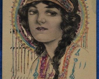 Art Woman American Indian Costume Feather Headdress 1914 Postcard