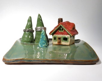 House With Trees Deluxe Ring Dish Miniature Cottage in the Forest