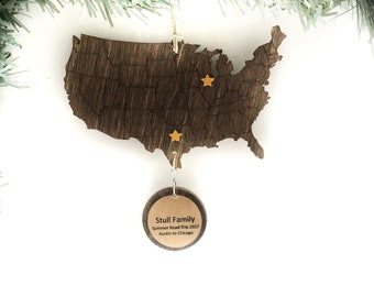 Personalized Road Trip Christmas Ornament, Travel Ornament, Road Trip Ornament, Vacation Ornament, RV Ornament, Trip Reveal Ornament