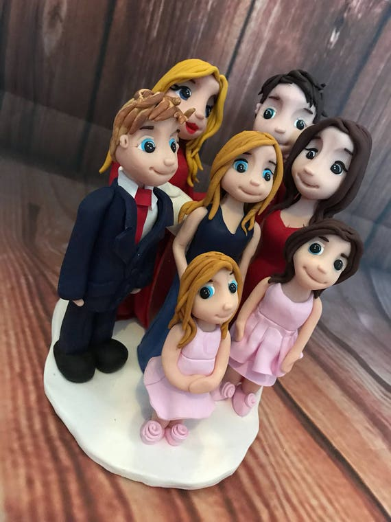 Fully personalised clay Wedding Cake Topper highly detailed family - Keepsake -Bespoke premium service