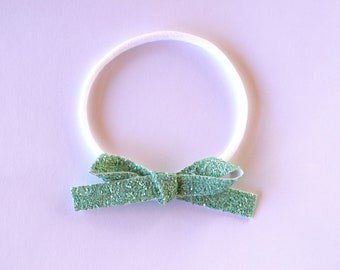 Matte Mint LARGE Glitter Bow One Size Fits All Elastic Adorable Photo Prop for Newborn Baby Little Girl Child Adult Headwrap Pretty Bow