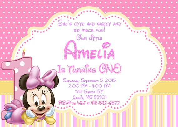 Baby Minnie Mouse Invitation Birthday Baby Minnie Mouse