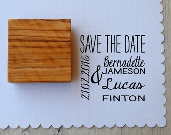 Custom Save The Date Dual Font Olive Wood Stamp