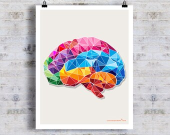 "Geometric Brain, 11"" x 14"" Fine Art Print, Anatomy Medical print, Neurologist Gift, Nurse gift, Neurosurgeon gift, Psychologist gift"