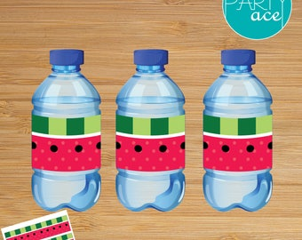 Watermelon Printable Water Bottle Label Summer Birthday Party Decoration