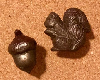 Acorn and Squirrel Push Pin Set Hand Made and Painted