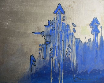 Oil painting blue/gold