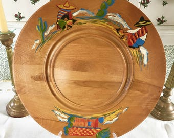 "Hand Painted Round Solid Wood Platter Tray Cheese Board Mexican Sombrero Hacienda Hombres Vintage Maple Wood 16"" Red Green Yellow Blue"