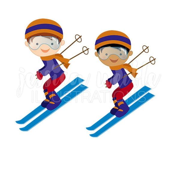 boy downhill skier cute digital clipart winter skiing clip rh etsy com skirt clip art skier clipart black and white