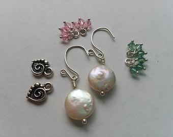 Pearl earrings/ coin pearl earrings/Earring set/Freshwater pearl earring set/Swarovski crystals/interchangeable pearl earrings/Pewter charm