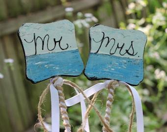 Mr & Mrs Beach Wedding Cake Topper / Cake Picks , Photo Prop , Nautical Reception and Beach Shower Decoration