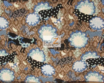 100% Cotton Fabric By In The Beginning Fabrics - Urban Farm Abstract Cows - Sold By The Yard (FH-2500) Blue