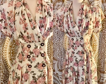 VTG 80s Pastel Floral Revival Pleated Grunge Double Breasted Overall Romper Dress