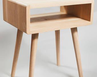 Solid Oak - Side Table - Vintage Retro Stand Bedside Storage Nightstand Mid Century Modern Danish
