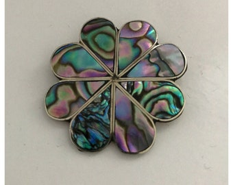 Vintage Abalone Flower Shaped Pin Brooch by Alpaca Mexico, Signed