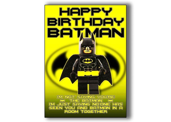 Lego Birthday Card Batman Minifigure Dc Comics The Batman
