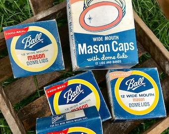 Vintage Ball Mason Jar Lids and Bands Collectible Display Items