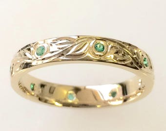 Vine and Leaf Hand Engraved Wedding Band with Emeralds