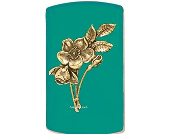 Vertical Card Case with Art Nouveau Flowers nlaid in Hand Painted Teal Enamel Engraving and Personalized Options Available Choose your Color