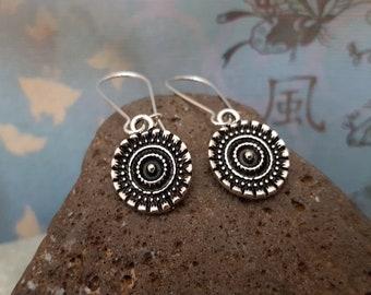 Silver Disc Earrings, Textured Silver Drop Earrings, Antique Silver, Bohemian Earrings, Sterling Silver, Gift for her, jingsbeadingworld