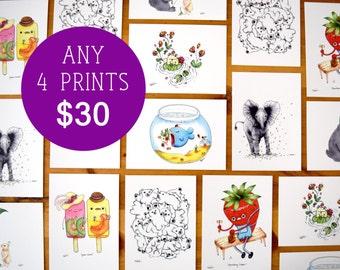 You Choose Any 4 Prints, Set of Prints, Set of 4 Art Prints, Pick Any 4 5x7 Art Prints