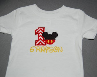 First Birthday Mouse Applique Shirt