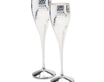Culinary Concepts Pair Of Silver Plated Hammered Champagne Goblets Flutes