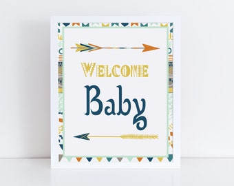 Welcome Baby Sign, Boy Baby Shower Sign, Tribal Baby Shower Decorations, Aztec Baby Shower, Arrow Baby Shower Signage, Instant Download
