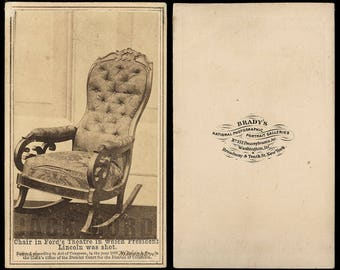 RARE CDV Photo Abraham Lincoln Ford's Theater Assassination Chair Photo by BRADY
