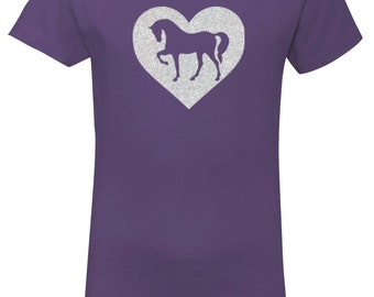 Purple Horse Shirt for Girls, Sparkle Heart Pony Purple Short Sleeve Tee, Equestrian Clothing, Riding Shirt, Horse Clothes