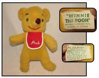 Vintage 60s Stuffed Yellow Winnie the Pooh Teddy Bear w/ Red Bib, Disney Character, J Swedlin design, Gund