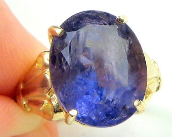 SALE, Sz 7,Solid 10K Yellow Gold, 7.2Ct. Genuine Blue Iolite, Natural Gemstone,Sweetheart Gift,Right Hand Ring,Promise Ring,Ladies Gift